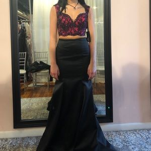 black and pink two piece prom dress